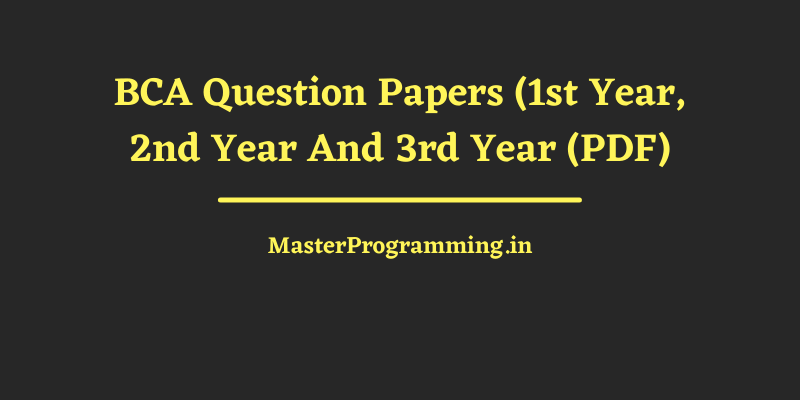 BCA Question Papers