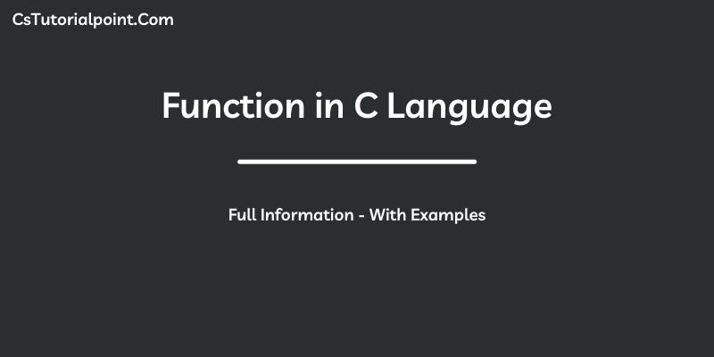 Functions in C Language